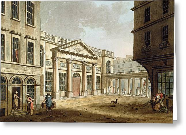Exteriors Greeting Cards - The Pump Room, From Bath Illustrated Greeting Card by John Claude Nattes