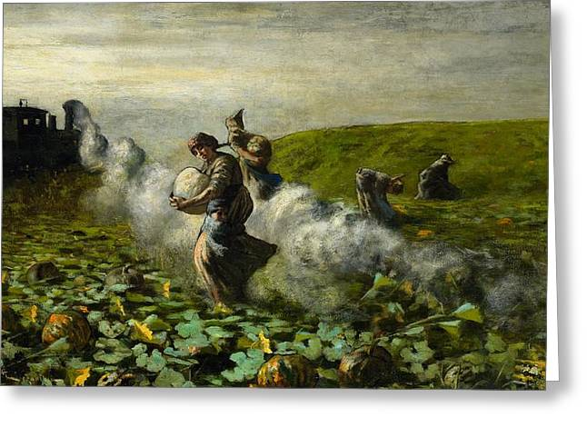 The Pumpkin Harvest Greeting Card by Giovanni Segantini
