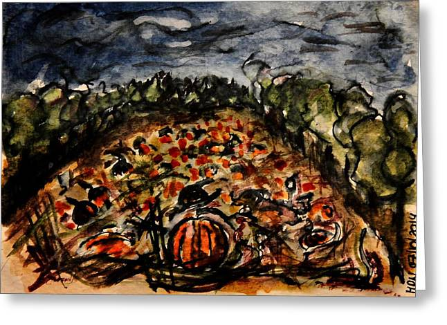 Pumpkins Mixed Media Greeting Cards - The Pumpkin Patch Greeting Card by Mimulux patricia no