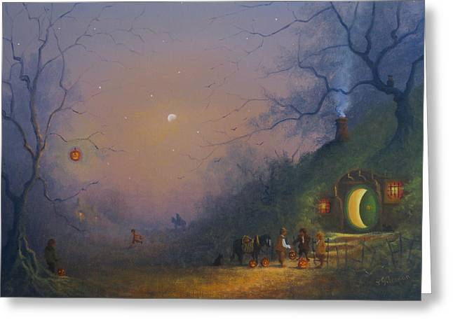 Tricks Greeting Cards -  A Hobbits Halloween. The Pumpkin Seller. Greeting Card by Joe Gilronan
