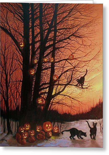 Spooky Greeting Cards - The Pumpkin Tree Greeting Card by Tom Shropshire