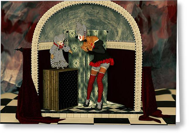 Jesters Puppet Greeting Cards - The Puppet Show Greeting Card by Liam Liberty