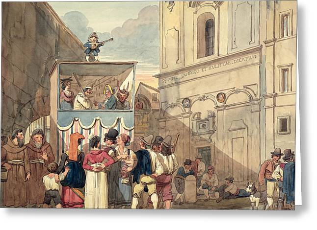 Marionette Greeting Cards - The Puppet Theatre Wc On Paper Greeting Card by Achille Pinelli