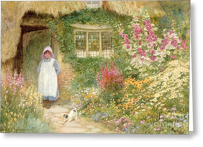 Charming Cottage Greeting Cards - The Puppy Greeting Card by Arthur Claude Strachan