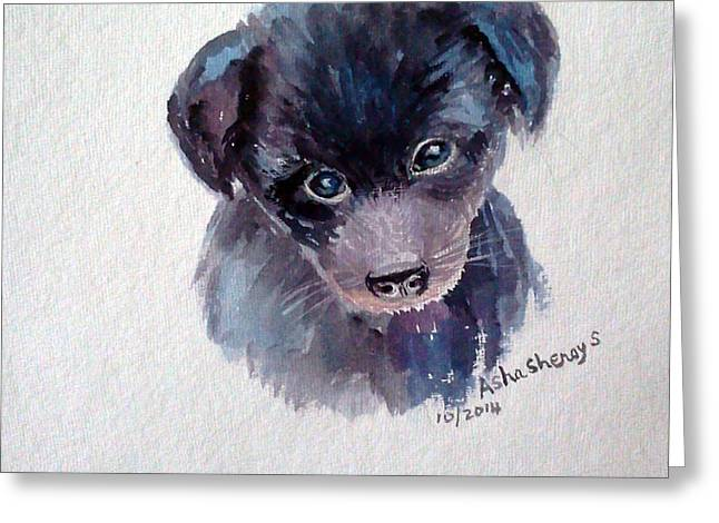 Puppies Paintings Greeting Cards - The puppy Greeting Card by Asha Sudhaker Shenoy