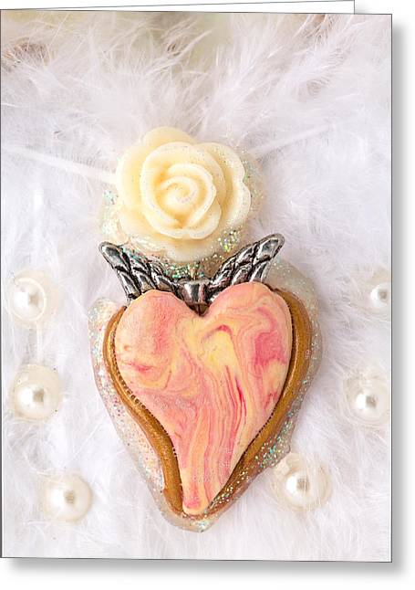 Heart Reliefs Greeting Cards - The pure rose angel heart Greeting Card by Heidi Sieber