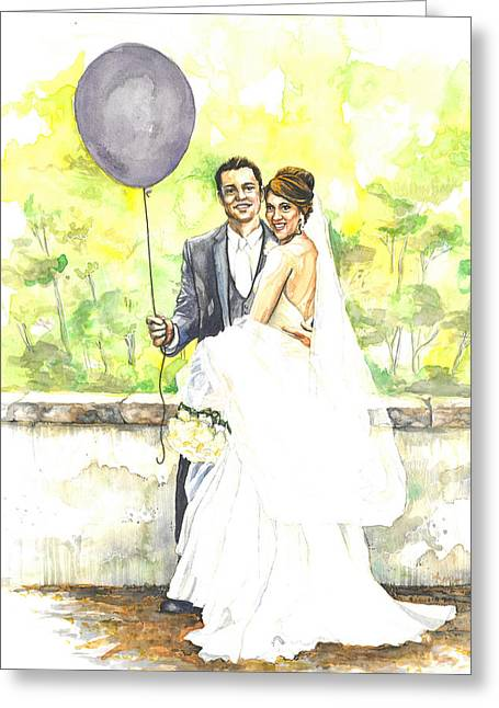 Balloon Flower Paintings Greeting Cards - The Purple Balloon Greeting Card by Tyler Auman