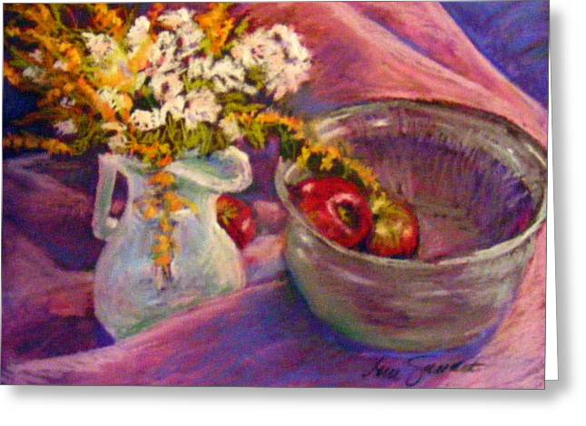 Bowl Pastels Greeting Cards - The Purple Bowl Greeting Card by Lenore Gaudet