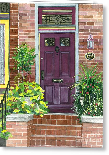 The Purple Door Greeting Card by Barbara Jewell