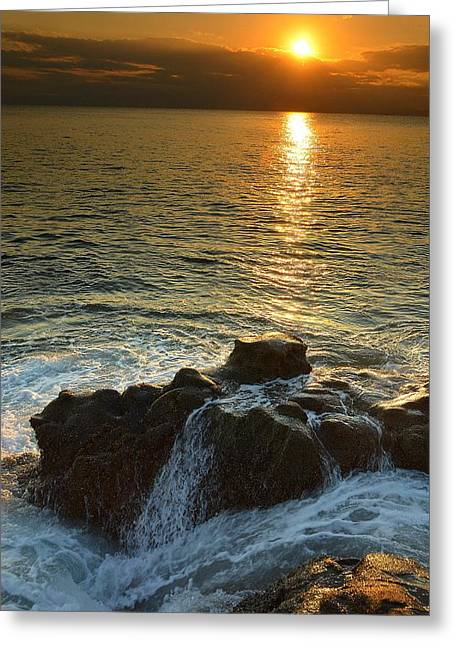 Beach Scenery Greeting Cards - The Push of Sunset Greeting Card by Aaron S Bedell