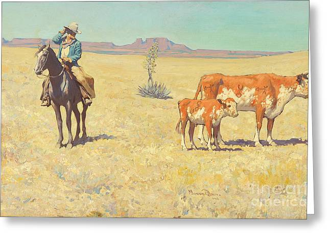Maynard Dixon Greeting Cards - The Puzzled Cowboy Greeting Card by Celestial Images
