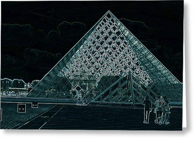 Altered Architecture Greeting Cards - The Pyramid by I.M. Pei Greeting Card by Carl Purcell