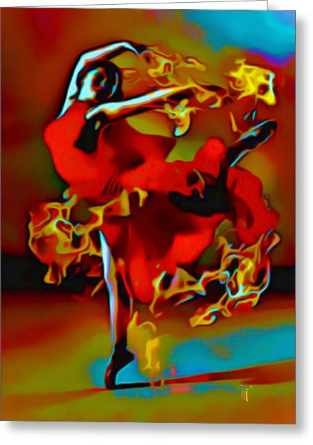 Print On Canvas Greeting Cards - The Pyro Dancer Greeting Card by  Fli Art