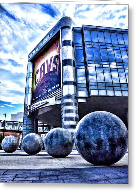 Recently Sold -  - Basketballs Greeting Cards - The Q - Cleveland Ohio - 1 Greeting Card by Mark Madere