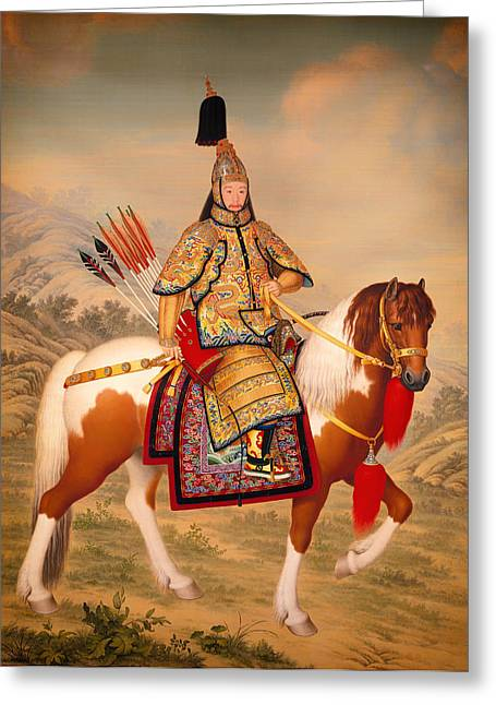 Chinese Portrait Greeting Cards - The Qianlong Empeor Greeting Card by Guiseppe Castiglion