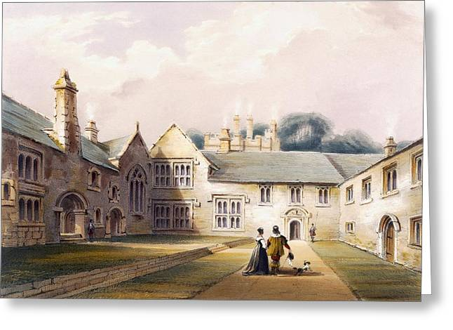 1485 Greeting Cards - The Quadrangle, Cotehele House Greeting Card by English School