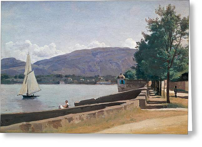 The Trees Greeting Cards - The Quai des Paquis in Geneva Greeting Card by Jean Baptiste Camille Corot
