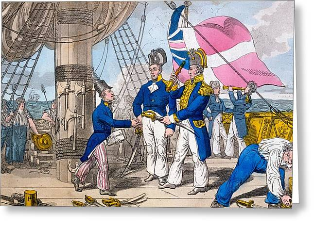 The Quarter Deck Before Battle, Plate Greeting Card by Charles Williams
