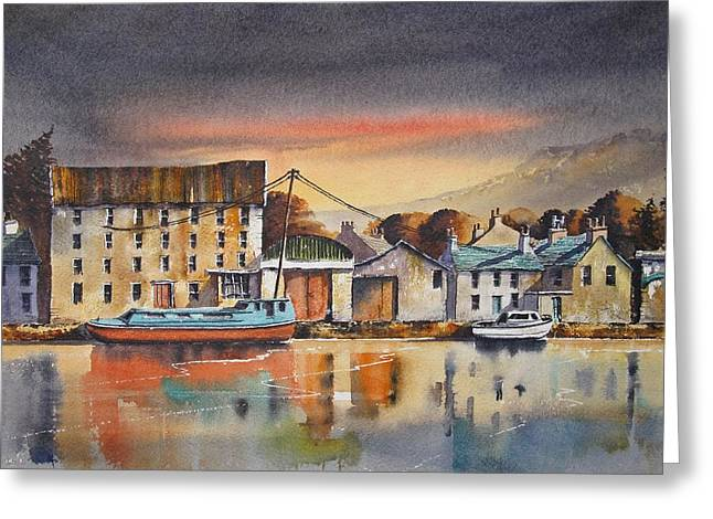 Old Mill Scenes Paintings Greeting Cards - The Quay At Graiguenamanagh Greeting Card by Roland Byrne