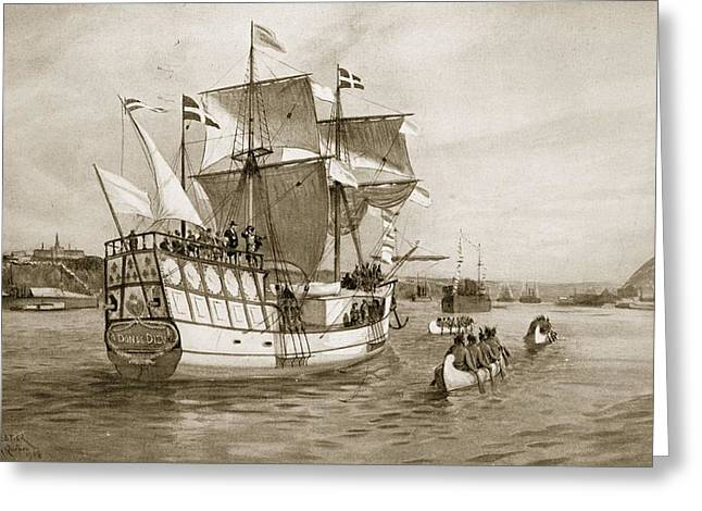 Sailing Ship Greeting Cards - The Quebec Celebrations, 1908 Greeting Card by Amedee Forestier