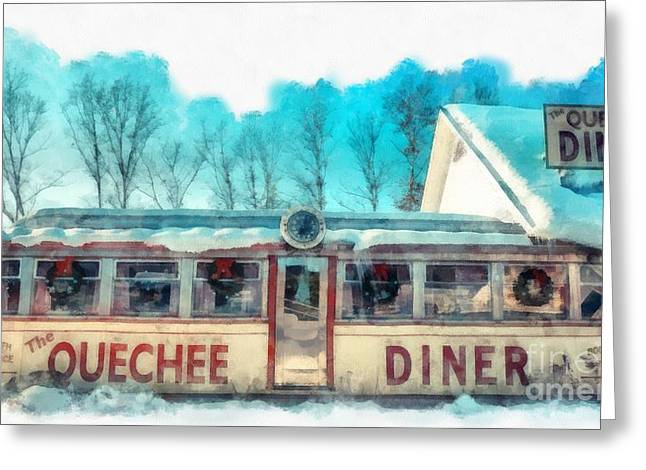 Vermont Winter Greeting Cards - The Quechee Diner Vermont Greeting Card by Edward Fielding