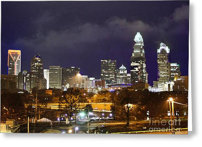 Charlotte Digital Art Greeting Cards - The Queen City Greeting Card by B Wayne Mullins