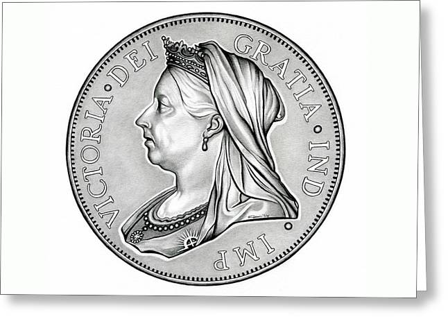 Silver Coins Greeting Cards - The Queen - Original Greeting Card by Fred Larucci