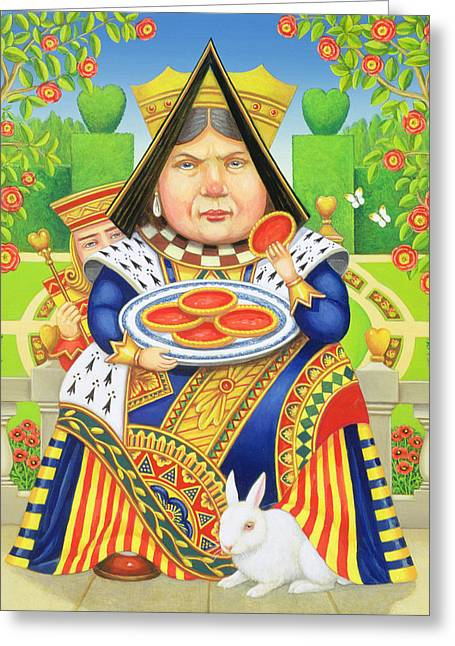 Dress Patterns Greeting Cards - The Queen Of Hearts Greeting Card by Frances Broomfield