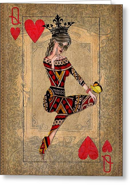 Playing Cards Mixed Media Greeting Cards - The Queen of Hearts Greeting Card by Terry Fleckney