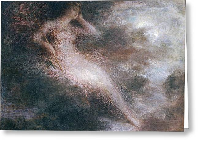 Fog Paintings Greeting Cards - The Queen of the Night Greeting Card by Ignace Henri Jean Fantin-Latour