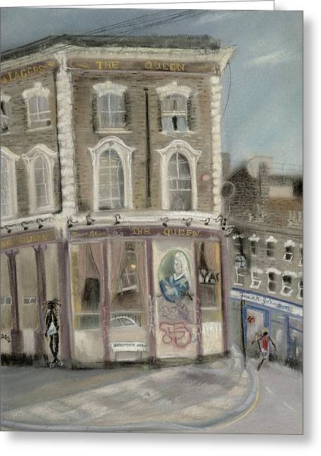 Public House Greeting Cards - The Queen Pub, Bellefields Road Pastel On Paper Greeting Card by Sophia Elliot