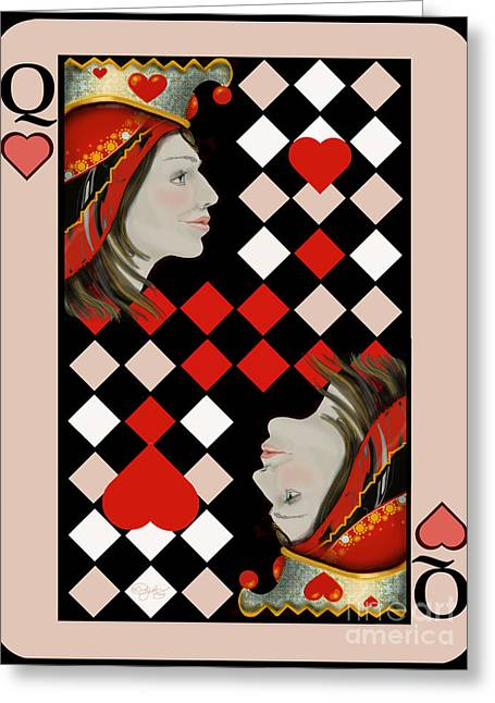 Alice In Wonderland Greeting Cards - The Queens Card in Pink Greeting Card by Carol Jacobs