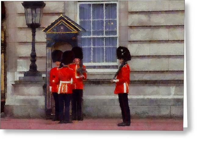 Buckingham Palace Greeting Cards - The Queens Guards Greeting Card by Dan Sproul