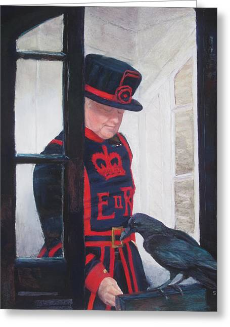 British Portraits Greeting Cards - The Queens Ravenmaster Greeting Card by Stacey David