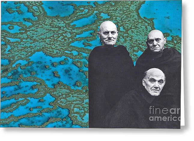 Monk Mixed Media Greeting Cards - The Question Is... Greeting Card by Elizabeth Hoskinson