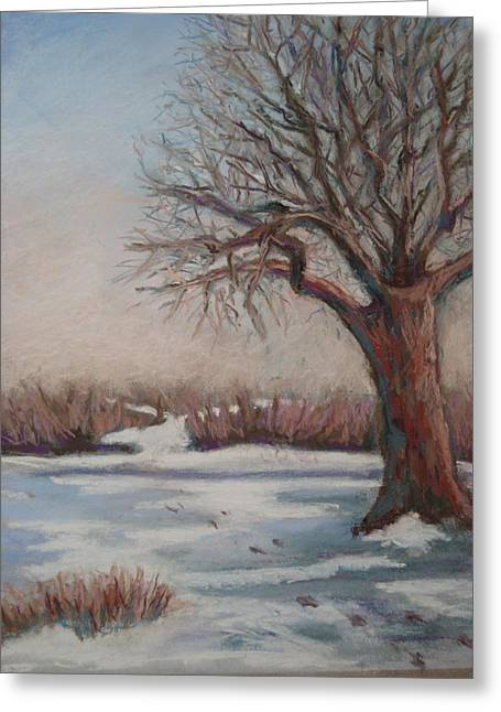 Snow Scene Landscape Pastels Greeting Cards - The Quiet After Greeting Card by Edy Ottesen