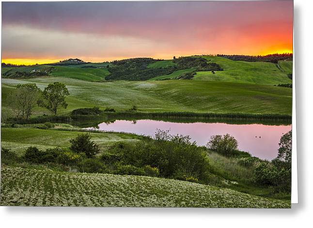 Tuscan Sunset Greeting Cards - The quiet lake at sunset in Tuscany Greeting Card by Roberto Pastrovicchio