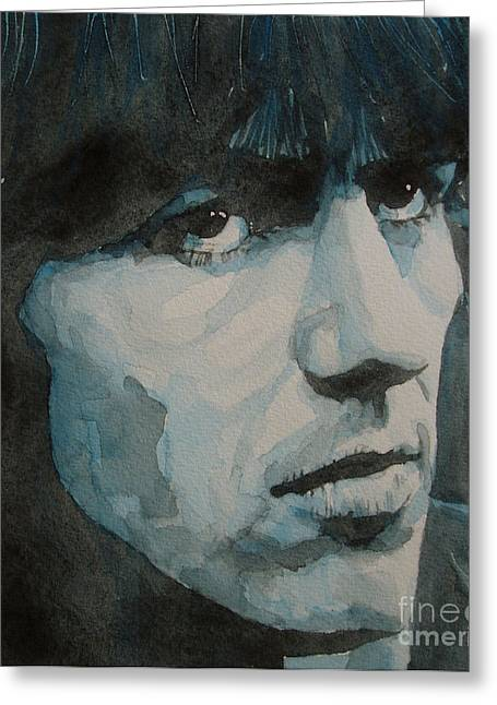 Beatles Paintings Greeting Cards - The quiet one Greeting Card by Paul Lovering
