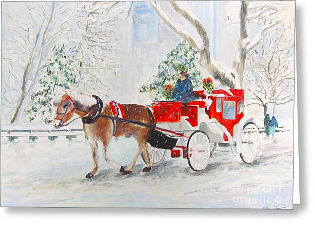 Horse And Buggy Paintings Greeting Cards - The Quiet Ride Greeting Card by Beth Saffer