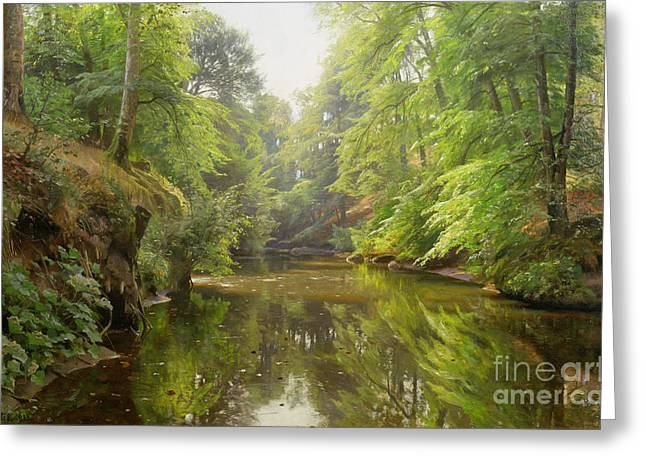 The Quiet River Greeting Card by Peder Monsted