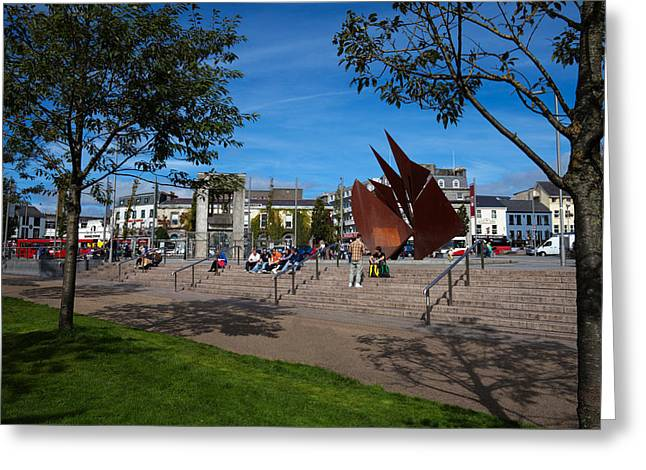 People. Talking Greeting Cards - The Quincentennial Sails Sculpture Greeting Card by Panoramic Images