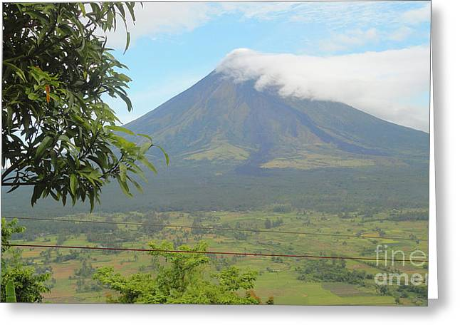 Manuel Cadag Greeting Cards - The Quite Mayon Greeting Card by Manuel Cadag