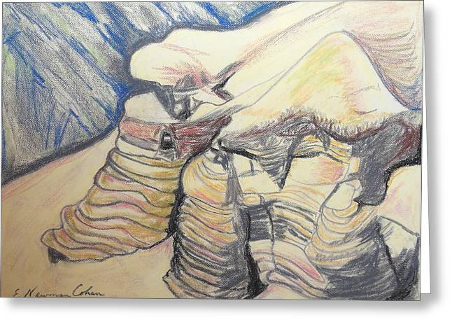 Pastel Mountains Metal Prints Greeting Cards - The Qumran Caves Greeting Card by Esther Newman-Cohen