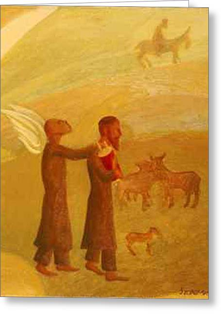 American Painters Greeting Cards - The Rabbi Leading the Angel Greeting Card by Israel Tsvaygenbaum