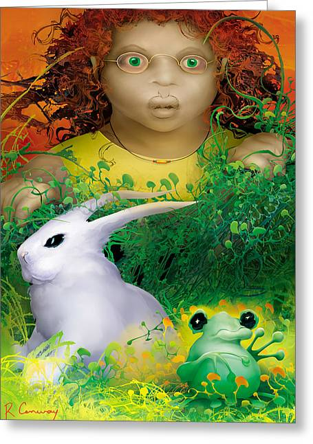 The Rabbit And The Frog Greeting Card by Robert Conway