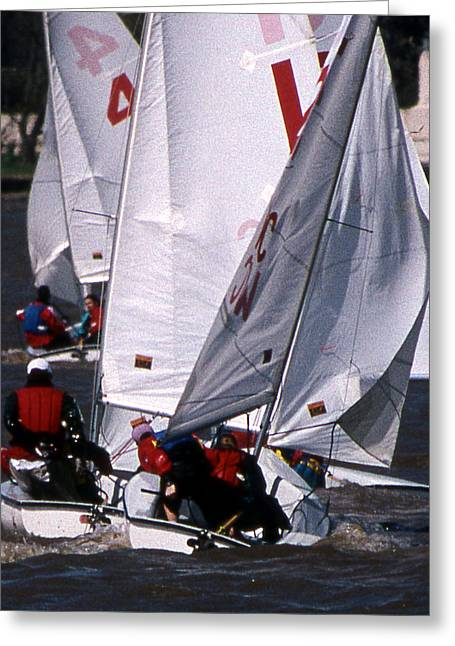Sailboat Art Greeting Cards - The Race Is On Greeting Card by Skip Willits