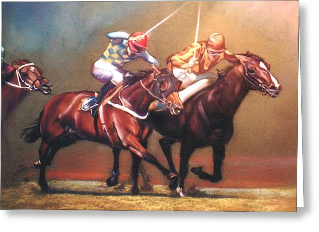 Lynda Robinson Greeting Cards - The Race Greeting Card by Lynda Robinson