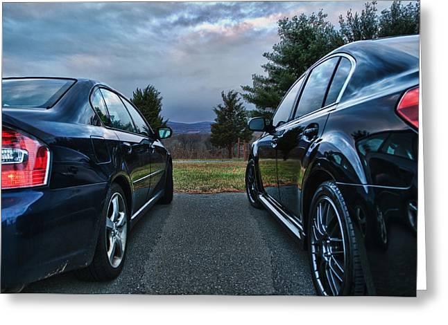 Blue Subaru Greeting Cards - The race Greeting Card by Ryan Crane