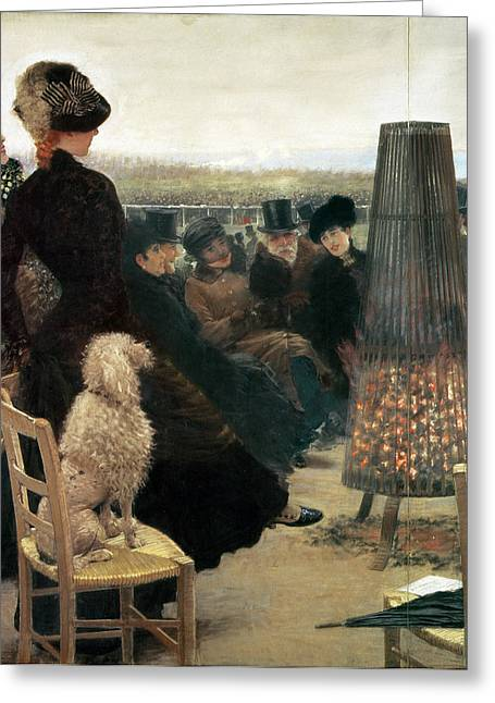 The Races At Auteuil Greeting Card by Giuseppe Nittis