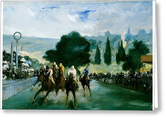 Race Horse Greeting Cards - The Races at Longchamp Greeting Card by Edouard Manet